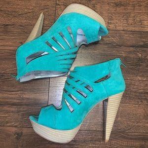 Turquoise suede platform heels